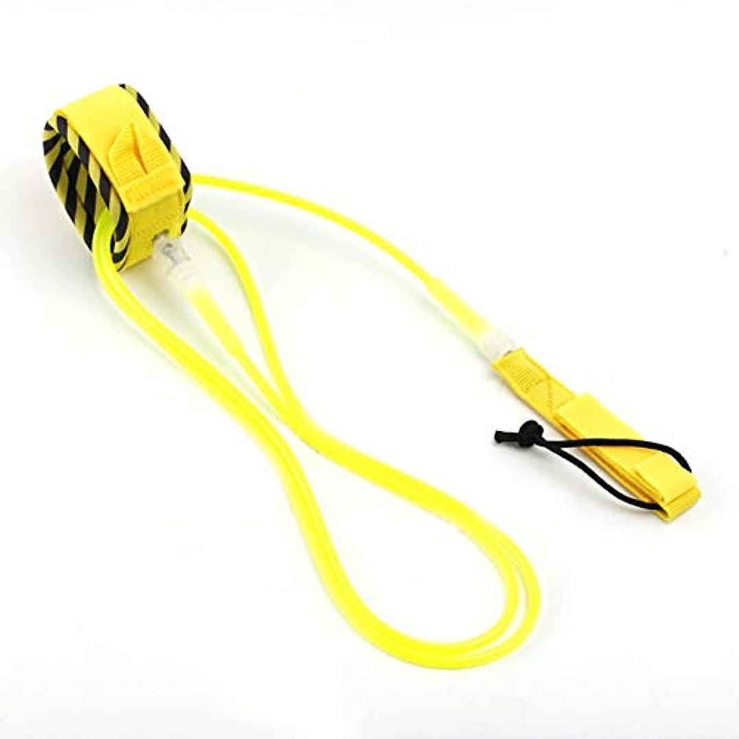 スキーム噴出する乗算DeeploveUU レインボーシリーズサーフセーフティロープアンクルリーシュサーフボードコイル式スタンドアップパドルボードロープサーフィンコードひもアクセサリー黄色