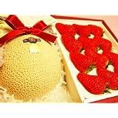 静岡マスクメロン 大玉サイズ と特大紅ほっぺいちごセット