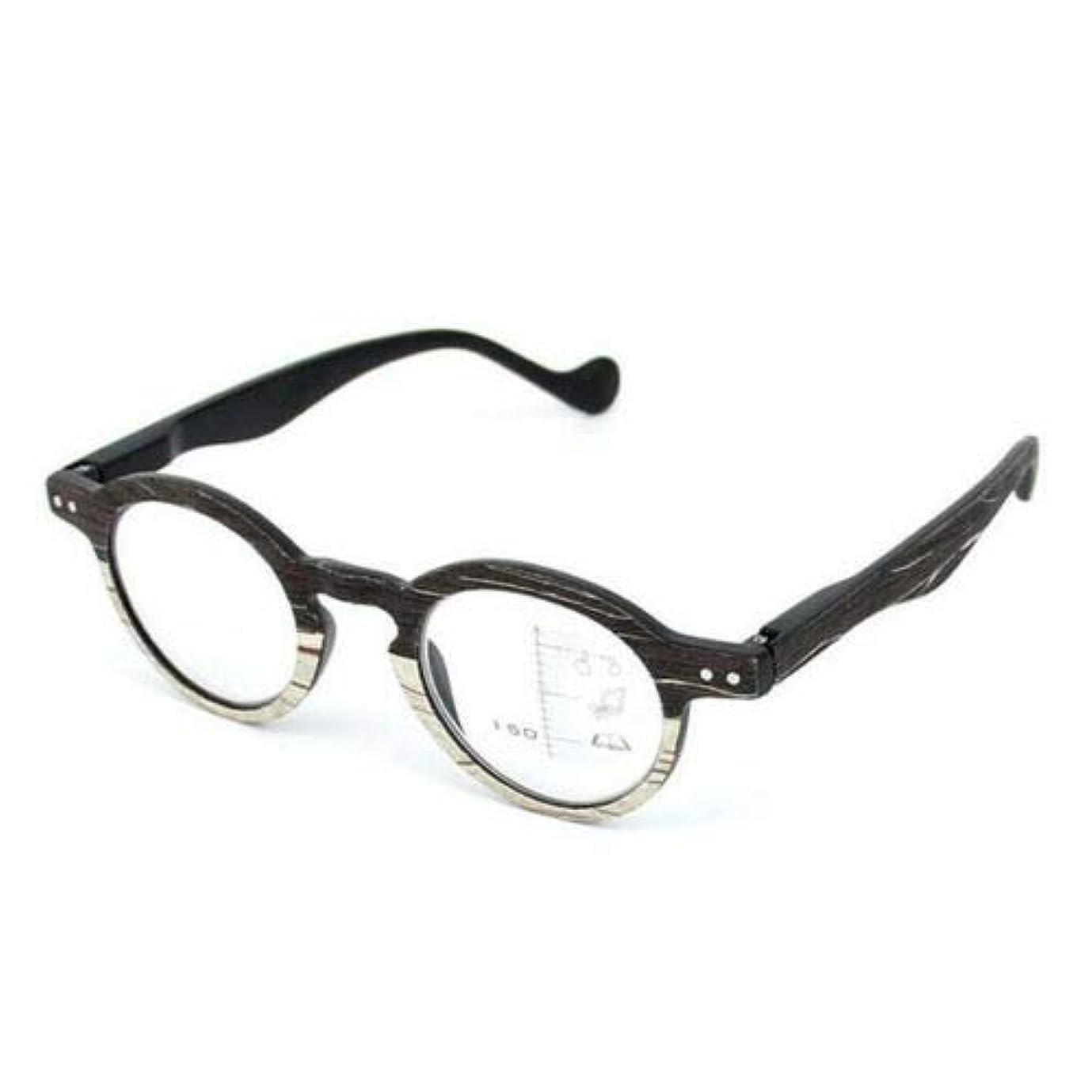 FidgetGear ウッドグレインプログレッシブ老眼鏡レトロマルチフォーカス女性男性眼鏡 ブラック