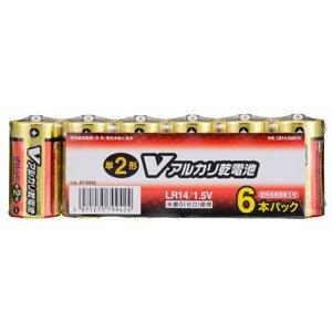 オーム OHM Vアルカリ電池単2形 6本パック LR14/S6P/V