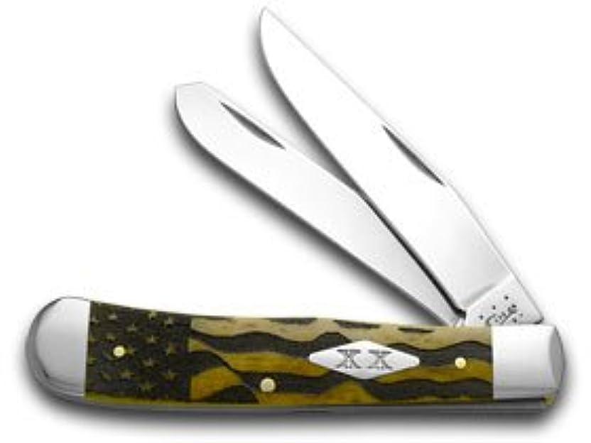 一族異議適切なCASE XX U.S. フラッグ アンティーク 骨 トラッパー ステンレス 1/500 ポケット ナイフ ナイフ