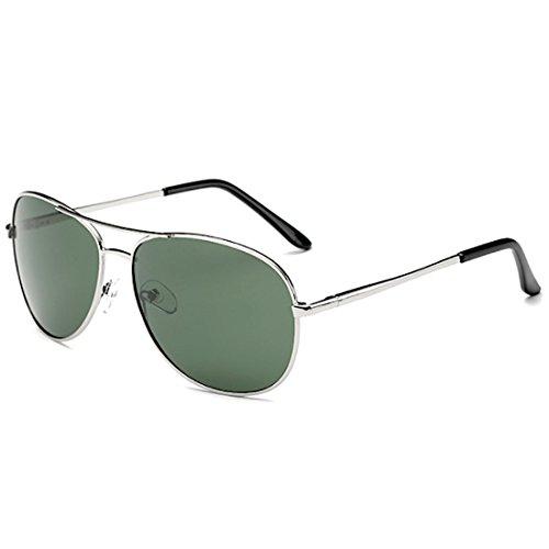 [FREESE] 偏光 サングラス ティアドロップ メンズサングラス クラシックデザイン UVカット クロス&メガネケース(ブラックグリーンレンズ/シルバーフレーム)