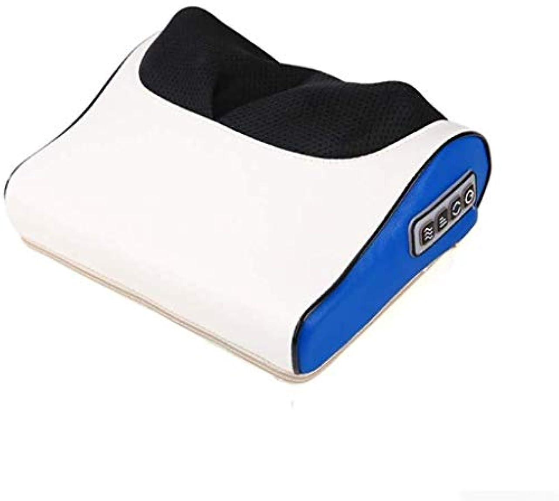出費小さな無心マッサージ枕、赤外線/温水首/肩/戻る電気マッサージ、指圧マッサージ機器、痛み/ストレスを解消、疲労を和らげます (Color : 青, Size : One size)