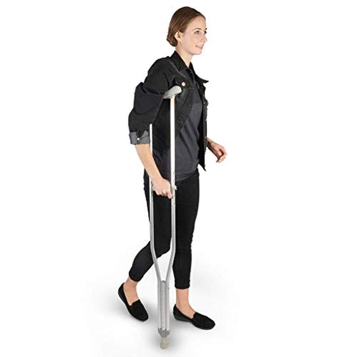 フックモジュール飛躍調節可能なアルミニウム松葉杖、二重調節可能、軽量歩行補助具、二重調節可能な松葉杖、足歩行松葉杖(アルミニウム) Single