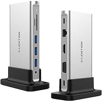 LENTION USB C ハブ 縦置きドッキングステーション USB Type C 4K HDMI VGA 3ポートUSB3.0 ギガビット有線LAN SD/Micro SDカードリーダー 100wPD充電MacBook Pro 13&15 2017/2018、 Air 13 2018、ChromeBook、Surface GoなどWindows10搭載PC 対応可能