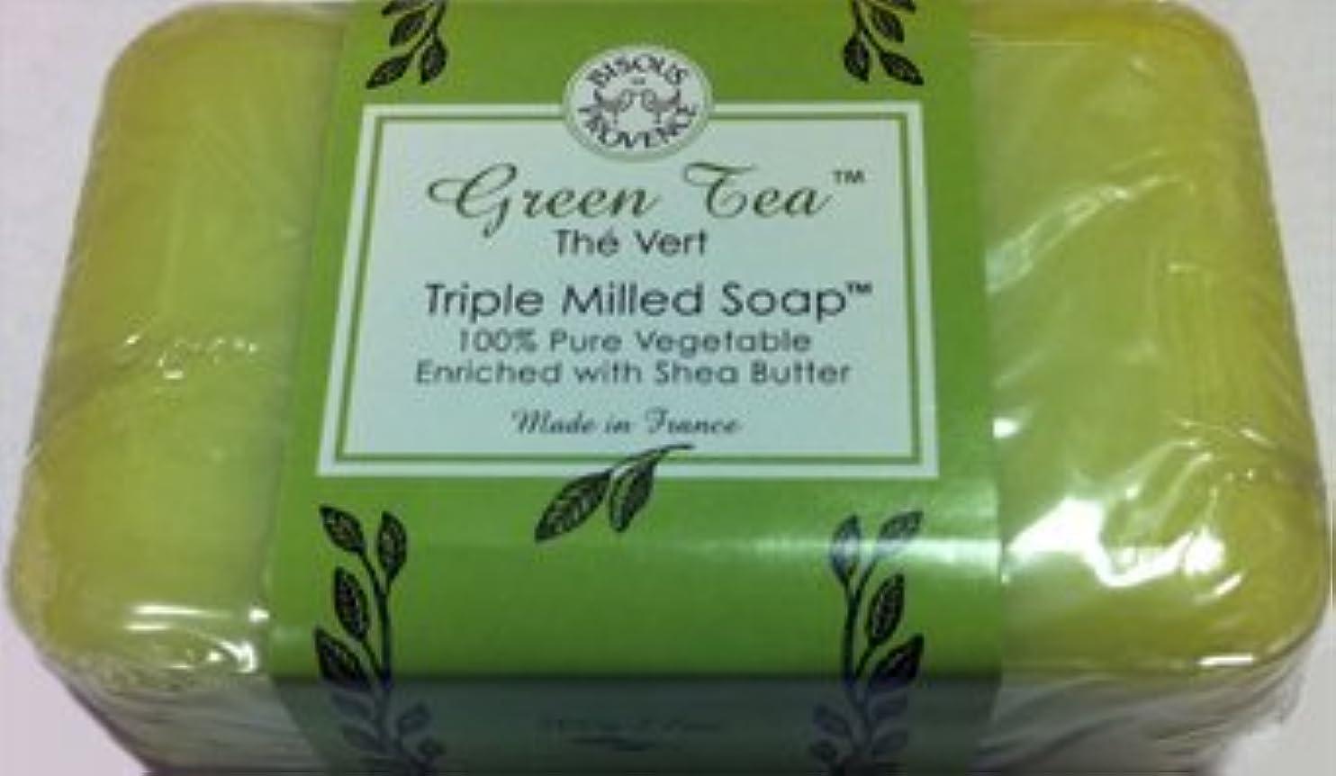 曖昧なハンカチ緊張するGreen Tea The Vert Triple Milled Soap 100% Pure Vegetable Enriched with Shea Butter by Bisous Provence/Trader...