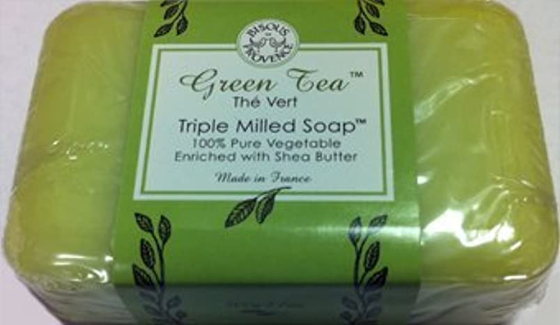 ゴミ食い違い植物学Green Tea The Vert Triple Milled Soap 100% Pure Vegetable Enriched with Shea Butter by Bisous Provence/Trader...