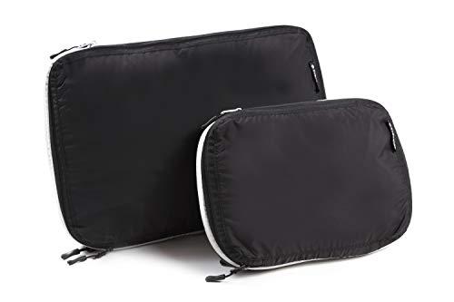 トラべラブ圧縮バッグ S、Lサイズセット ファスナー圧縮で衣類スペース50%節約 トラベルポーチ 軽量 出張 旅行 便利グッズ 衣類仕分け(綺麗な衣類&汚れた衣類) 簡単圧縮