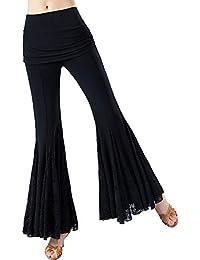 RIKOUZY レディース ダンス用ズボン レースの広がる裾 魅力なワイドパンツ ガウチョパンツ フレアパンツ 社交ダンス モダンダンス ラテンパンツ ワルツ 練習着 ストレッチ ダンス衣装