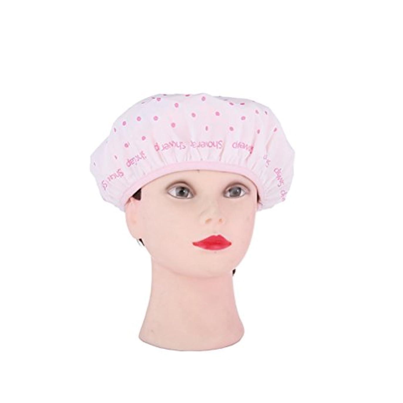 約懸念達成可能ROSENICE シャワーキャップ防水性モールド抵抗性の洗えるシャワーキャップかわいいやわらかい髪の帽子(ピンク)