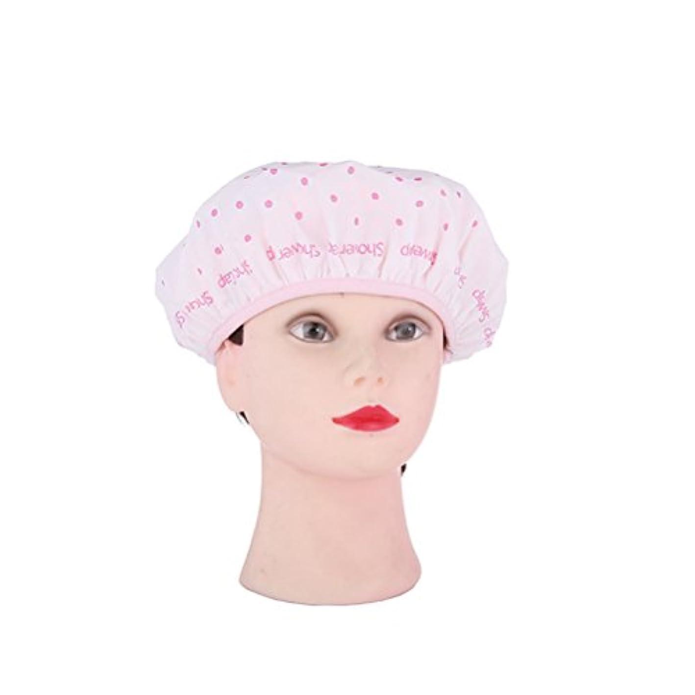 単調な唇告発者ROSENICE シャワーキャップ防水性モールド抵抗性の洗えるシャワーキャップかわいいやわらかい髪の帽子(ピンク)