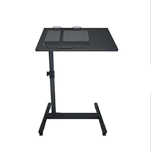 サイドテーブル ステンレス鋼のコンピュータデスクモバイルデスクシンプルなホームベッドサイドテーブルベッドルームオフィスノートブック回転テーブル ( 色 : ブラック )
