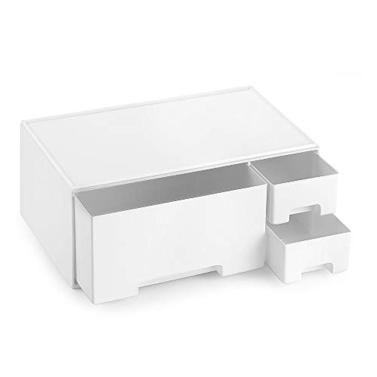 ドラフト貢献するパットメイクボックス 化粧品収納 コスメ収納 引き出し 小物/化粧品入れ リモコンラック テーブル収納 コスメ収納スタンド ジュエリーボックス ブラシホルダー 卓上収納 - 下段