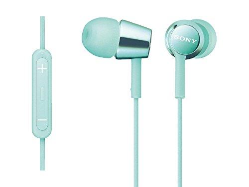 ソニー SONY イヤホン MDR-EX150IP : カナル型 iPhone/iPod/iPad用リモコン・マイク付き ミントブルー MDR-EX150IP L