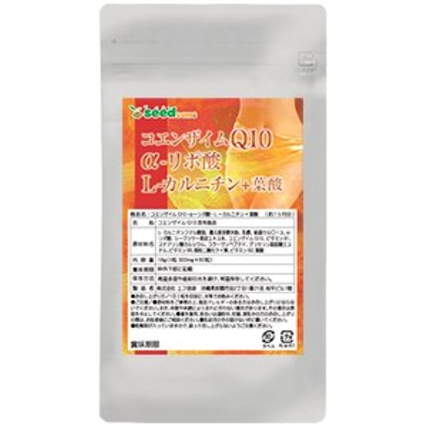 ひいきにする薄暗いハシーコエンザイムQ10 α-リポ酸 L-カルニチン + 葉酸 (約3ヶ月分/180粒) シークワーサーエキス配合