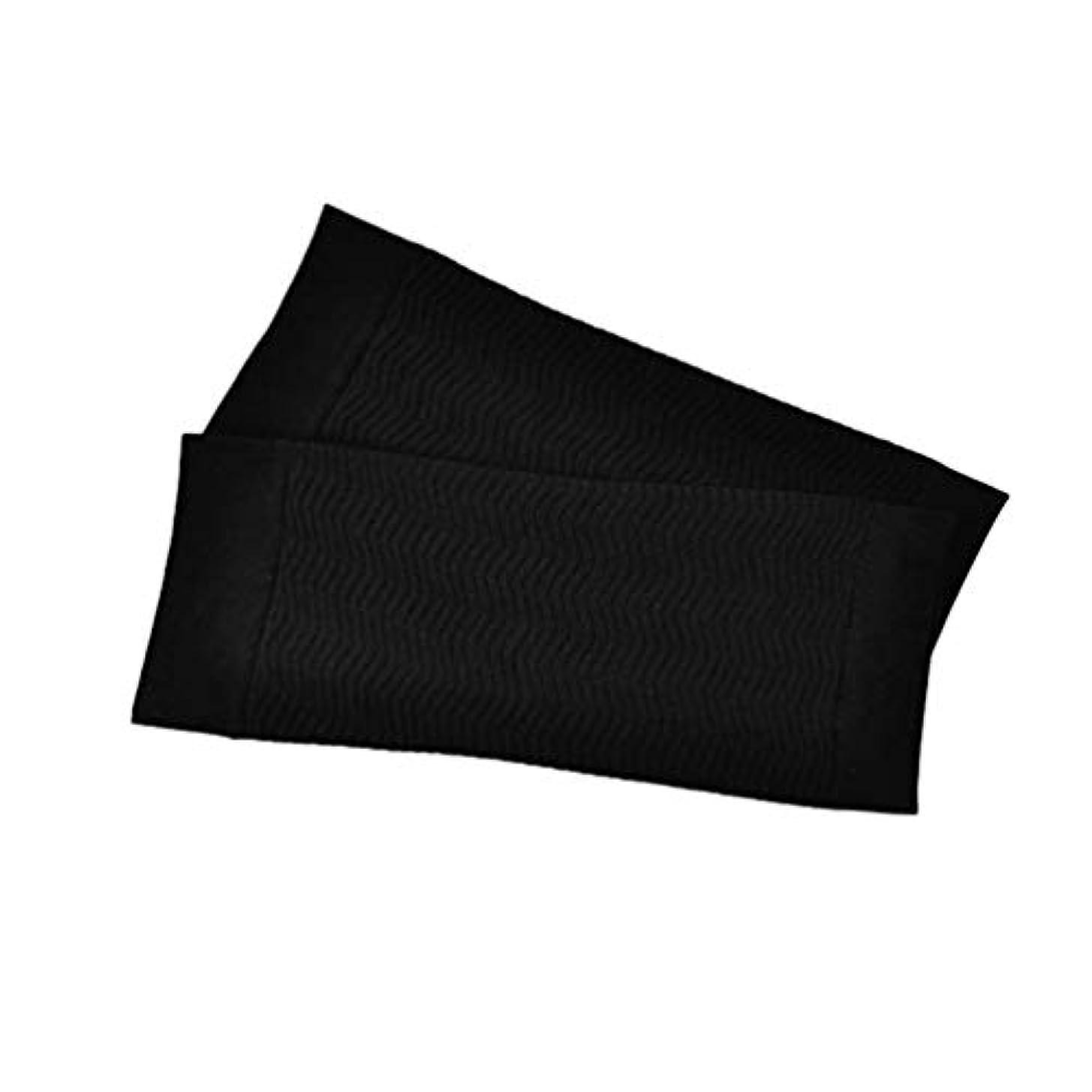調停する寝てる進捗1ペア680 D圧縮アームシェイパーワークアウトトーニングバーンセルライトスリミングアームスリーブ脂肪燃焼半袖用女性 - ブラック
