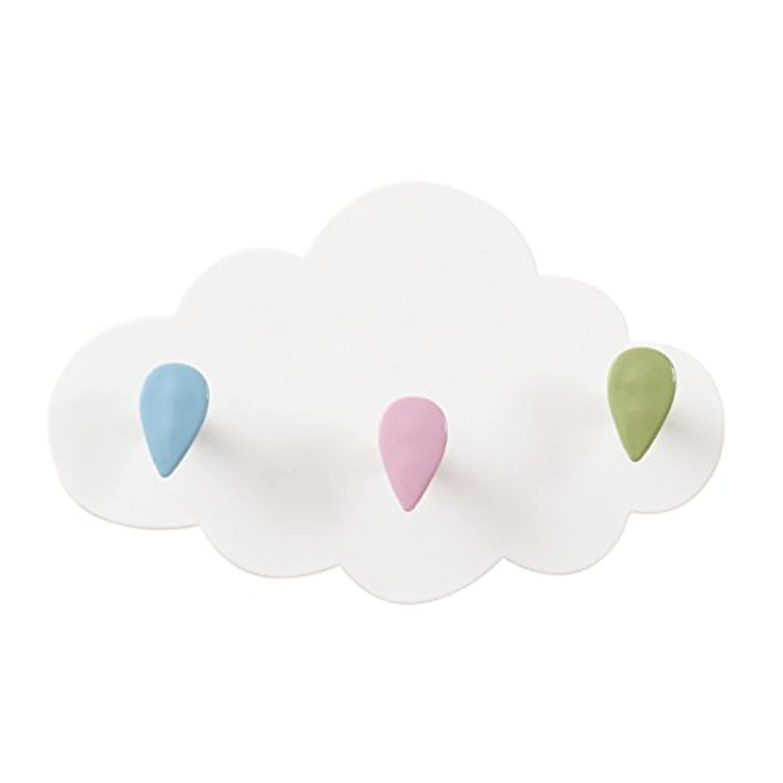 LULAA フック 粘着フック 壁掛フック 雲 三連  貼り付け跡なし キッチン 洗面台  バスルーム ドア  インタリア  可愛い