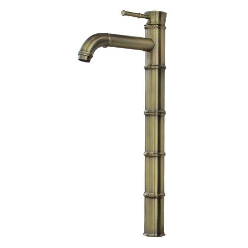 蛇口 混合水栓 シングルレバーハンドル バンブー アンティークゴールド(古金) [奥行22.5×吐水口高35.5cm] INK-0303118H