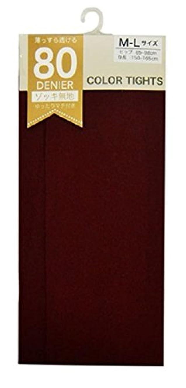 スクラップ単調な中世の(マチ付き)80デニールカラータイツ ボルドー M~L