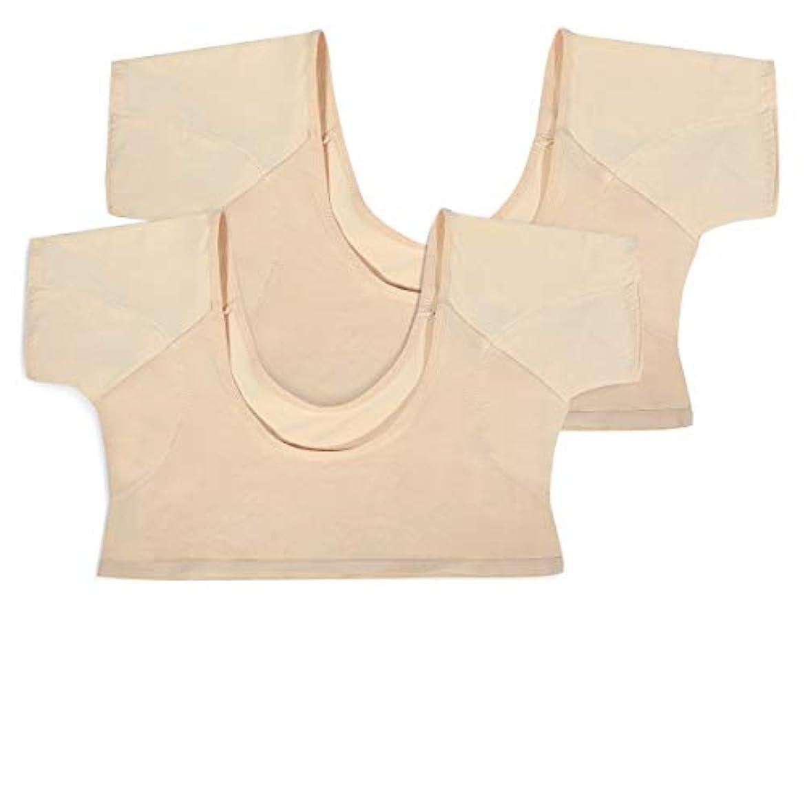 会計士兄打たれたトラックLC-dolida レディースインナーシャツ 2枚組み 脇汗パッド付き ワキさらり 色透け難い 極薄 吸水速乾 汗取りパッド(Lサイズ)