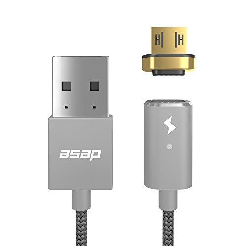 asap X-Connect micro USB用 (Android スマホ タブレット他) マグネット式 充電ケーブル 1.2mケーブルセット (ガンメタル) 【国内正規品】