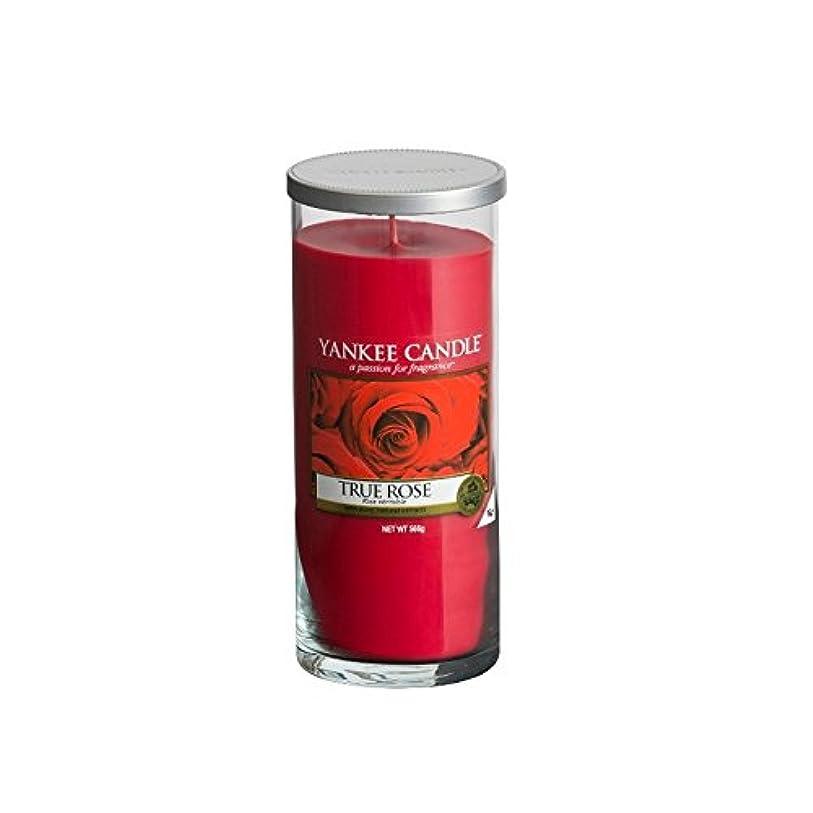 見捨てられた業界険しいYankee Candles Large Pillar Candle - True Rose (Pack of 2) - ヤンキーキャンドル大きな柱キャンドル - 真のバラ (x2) [並行輸入品]