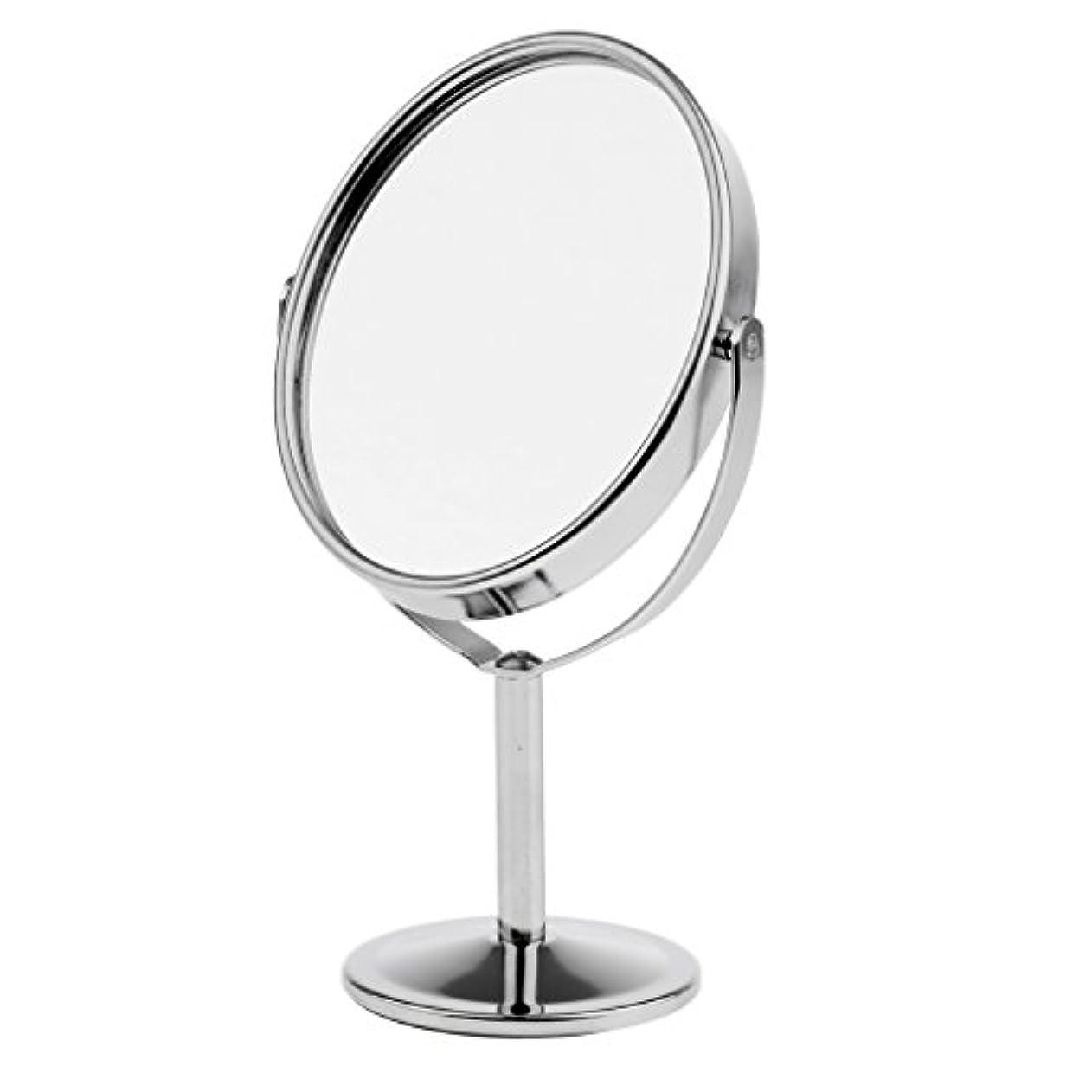 汚物マネージャー眼メイクアップミラー テーブルミラー 化粧鏡 デュアルサイド 拡大鏡 ミラー 楕円 スタンド 360度回転 ポータブル 2色選べる - 銀