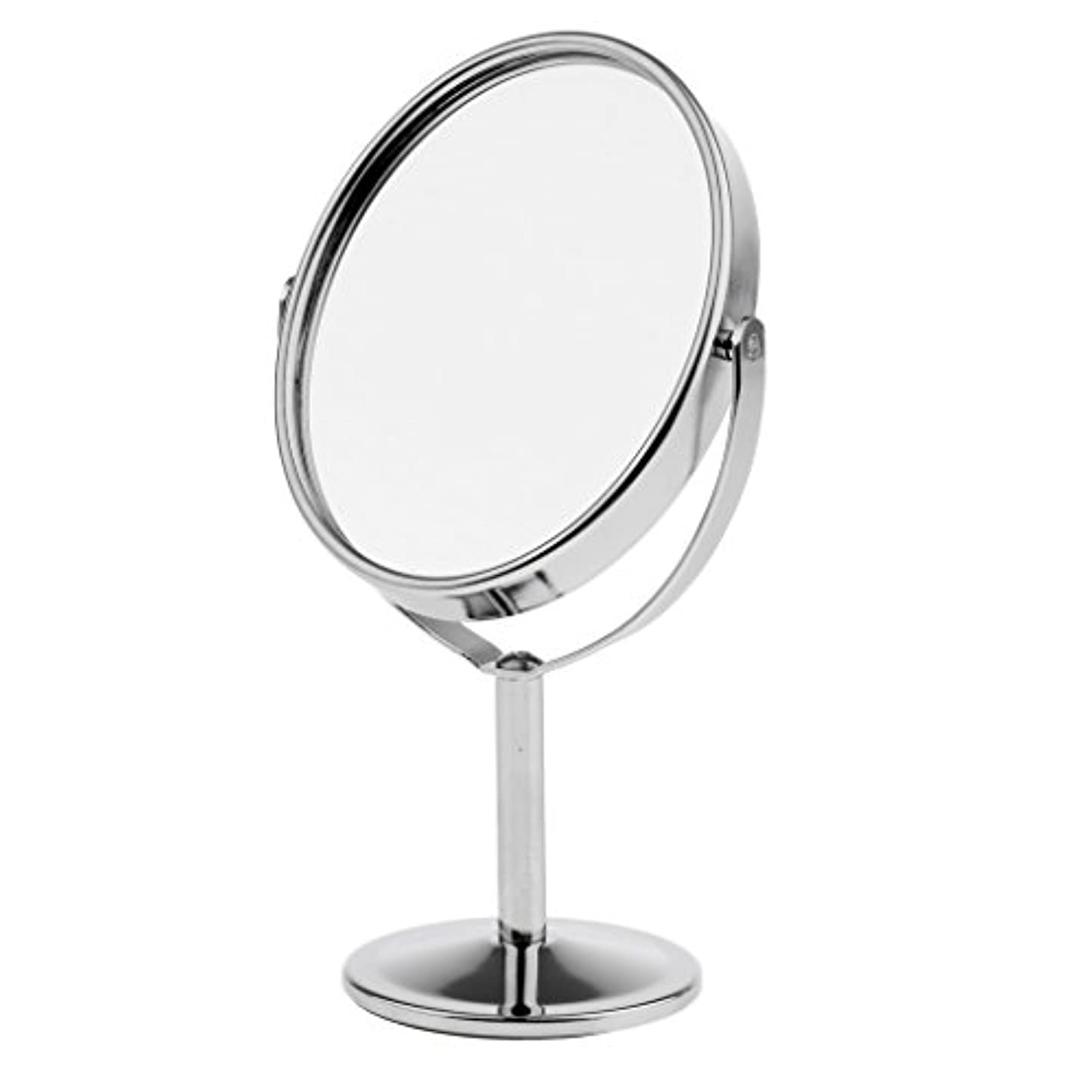 一時停止移行連結する3インチミニ卓上化粧鏡、両面拡大鏡&ノーマルスイベル化粧鏡、ポータブルトラベル - 銀