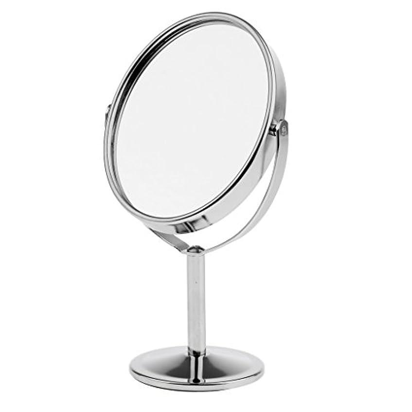 ジャンク松の木パーツ3インチミニ卓上化粧鏡、両面拡大鏡&ノーマルスイベル化粧鏡、ポータブルトラベル - 銀