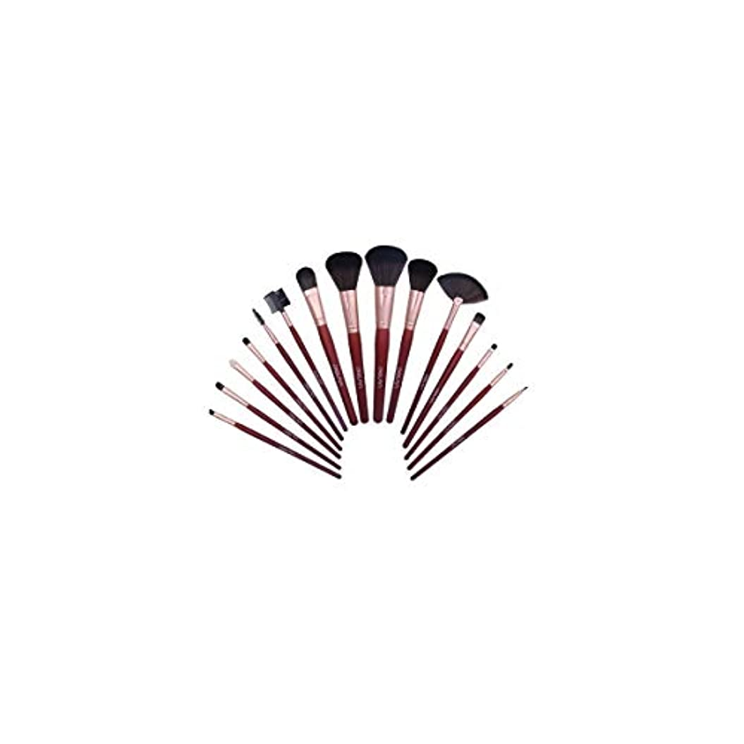 ヶ月目女王ベーコンTUOFL メイクブラシセット15の初心者のプロフェッショナルメイクブラシファイバーヘアーメイクブラシバッグ、簡単に持ち運びします (Color : Red)