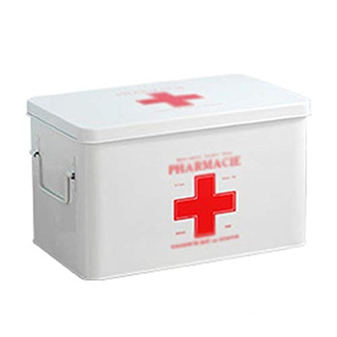 約設定の前で反論ショルダーストラップポータブル付きの医療箱収納ボックス。家族向け厚くされた高温耐性アルミニウム合金材料-シルバー