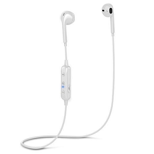 Bluetoothイヤホン ワイヤレススポーツイヤホン マイク付き 防汗防滴インナーイヤー型 開放型 ブルートゥースイヤホン 6時間連続使用iPhoneX iPhone8/8plus iPhone7/plus, Androidなど対応 ホワイト