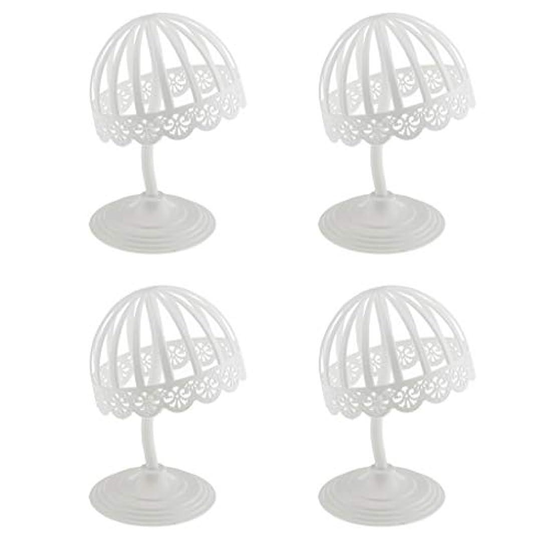 雷雨常識過半数Perfeclan 4個セット ウィッグ スタンド 帽子 収納 ディスプレイ ホルダー プラスチック製 ホワイト