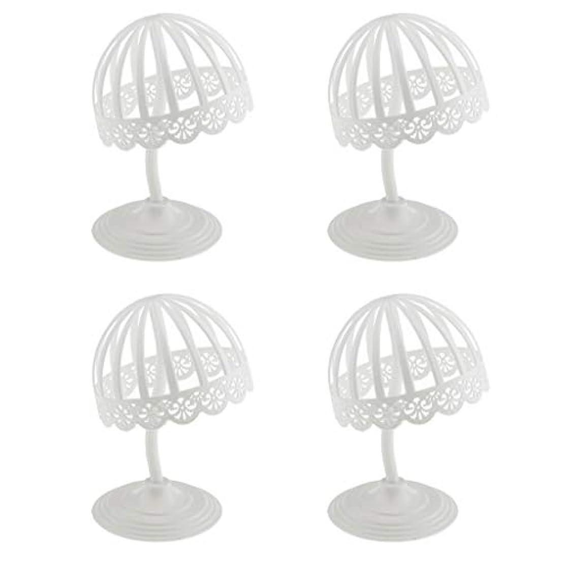 バレエアブストラクトラバPerfeclan 4個セット ウィッグ スタンド 帽子 収納 ディスプレイ ホルダー プラスチック製 ホワイト