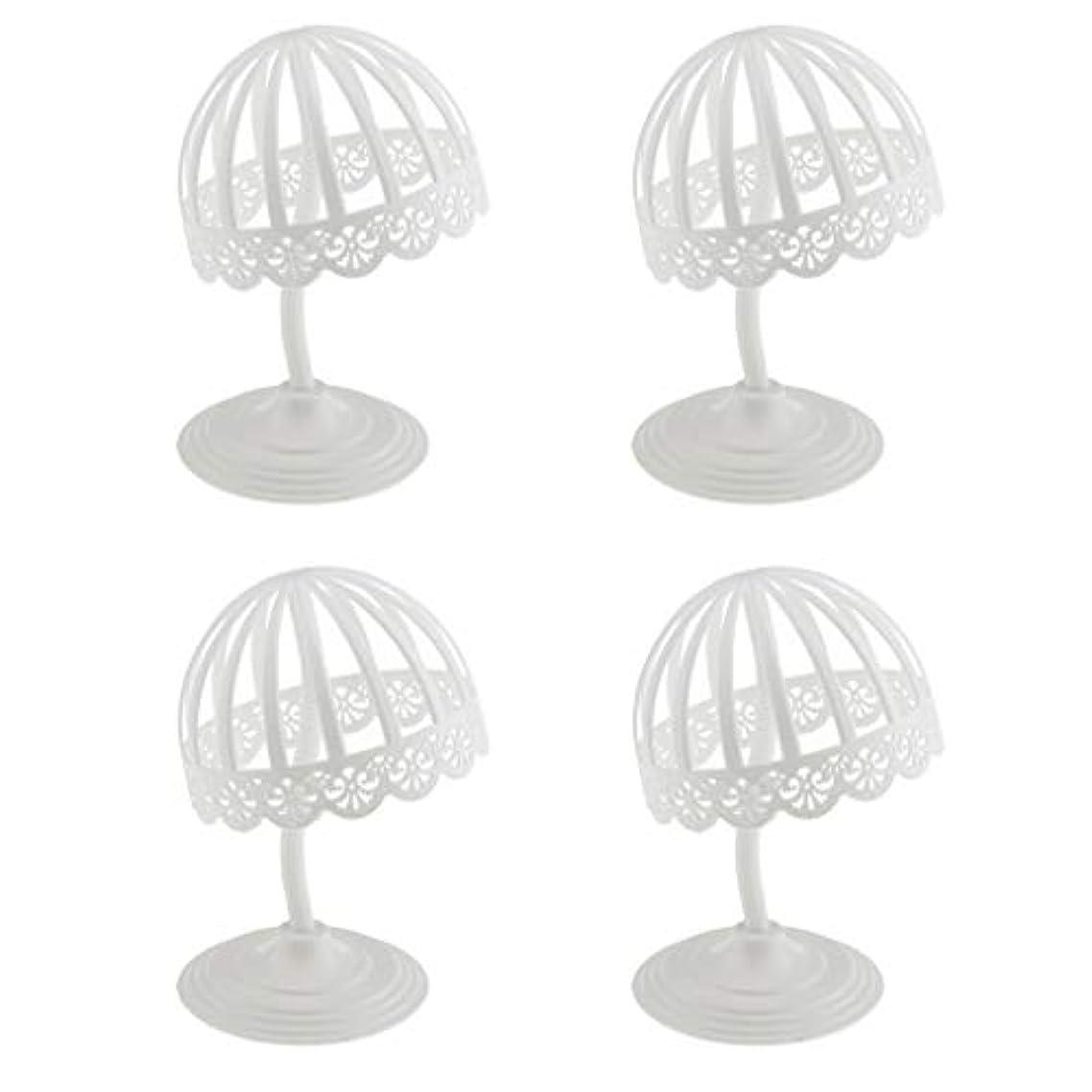 違うストレスの多い柔和Perfeclan 4個セット ウィッグ スタンド 帽子 収納 ディスプレイ ホルダー プラスチック製 ホワイト