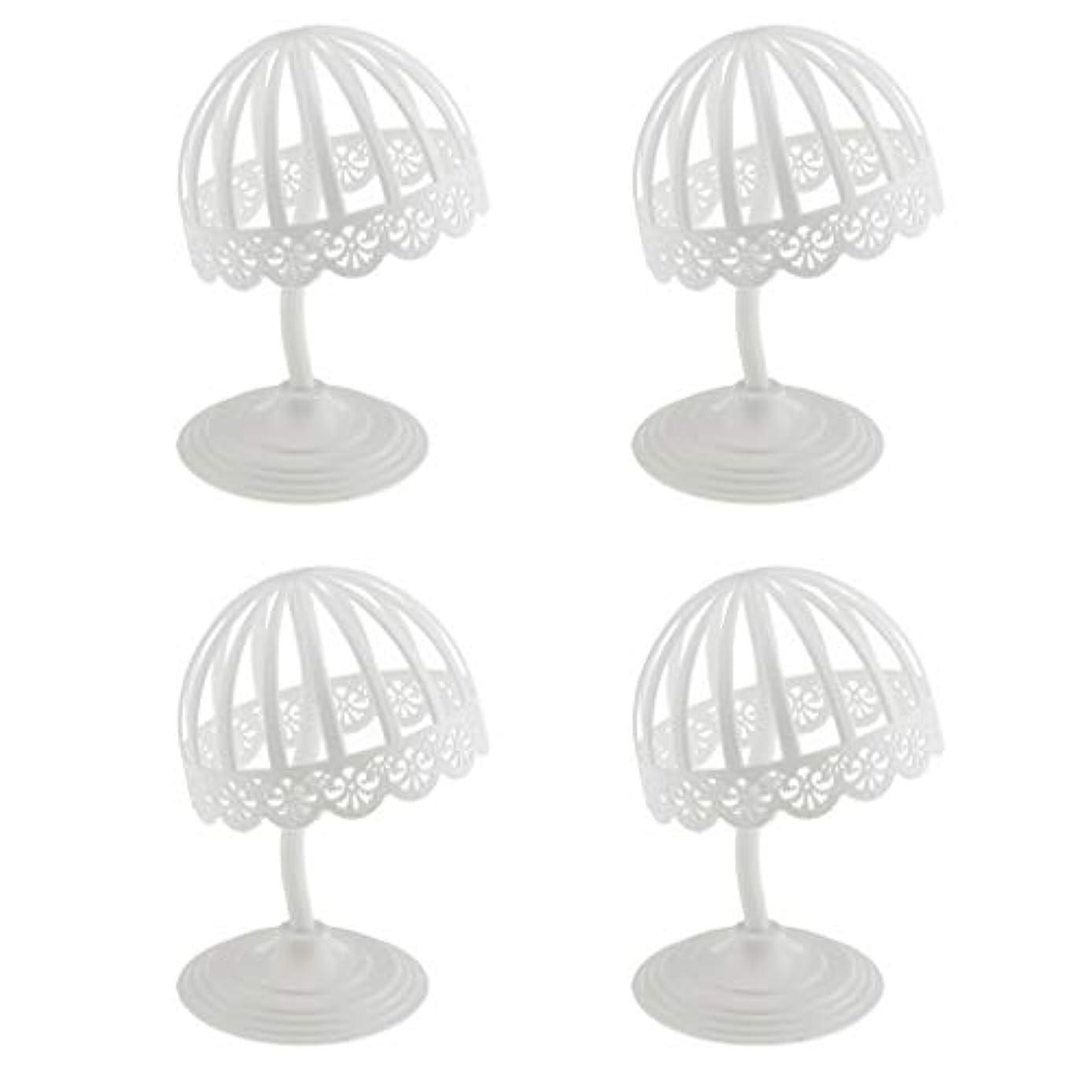 明らかにする通知たとえPerfeclan 4個セット ウィッグ スタンド 帽子 収納 ディスプレイ ホルダー プラスチック製 ホワイト