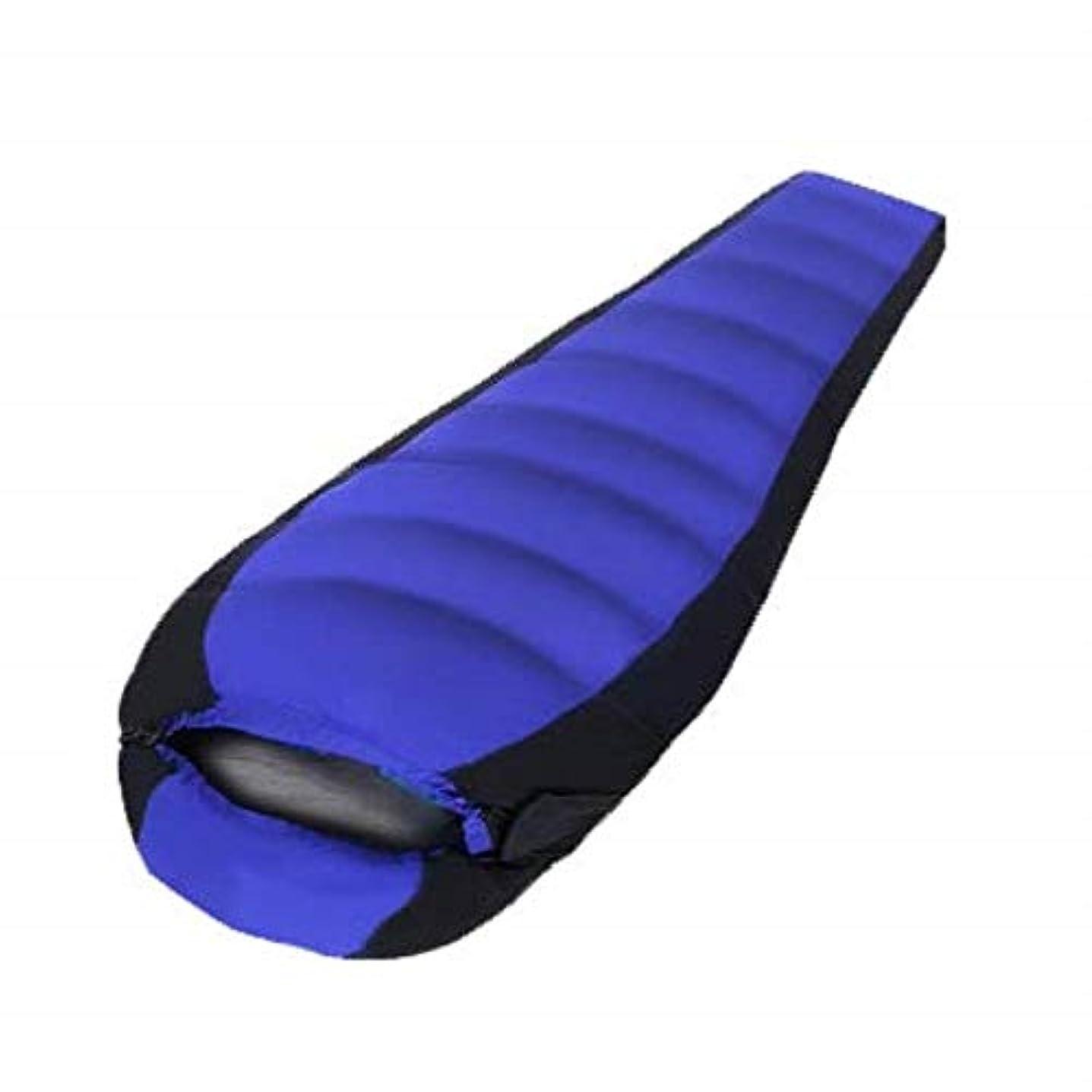 つぶやき移住するマインド圧縮ポケット付き屋外軽量寝袋 - 夏のバックパック用に設計された超軽量の男性と女性のママバッグ (色 : 青)