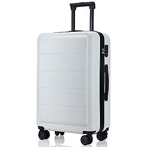 レーズ(Reezu) スーツケース 超軽量 TSAロック搭載 キャリーバッグ S M サイズ 小型 ファスナー キャリーケース 耐衝撃 ビジネス トランク 旅行出張 人気 大型 保管カバー付 1年保証 ホワイト white Mサイズ 約65L