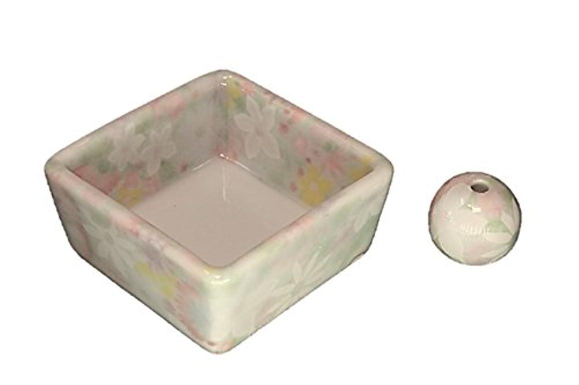 半球コジオスコパネル和モダン 華苑 お香立て 陶器 角鉢 製造直売品