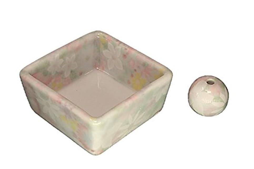 磁気火山学サンダル和モダン 華苑 お香立て 陶器 角鉢 製造直売品