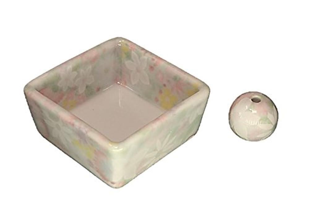 四ホイール残高和モダン 華苑 お香立て 陶器 角鉢 製造直売品