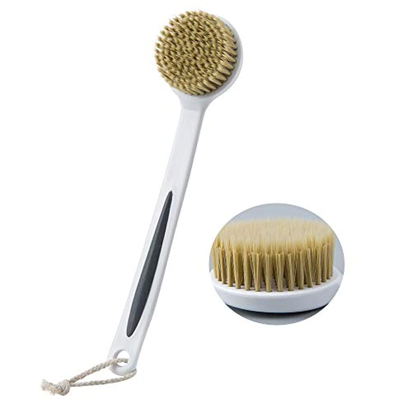 足枷モチーフトラフ濡れたまたは乾いた多機能シャワーボディブラシ強力な洗浄スクラバーと超柔らかいブリスティと長いハンドルが、角質を取り除きますセルライトの血液循環を助けます
