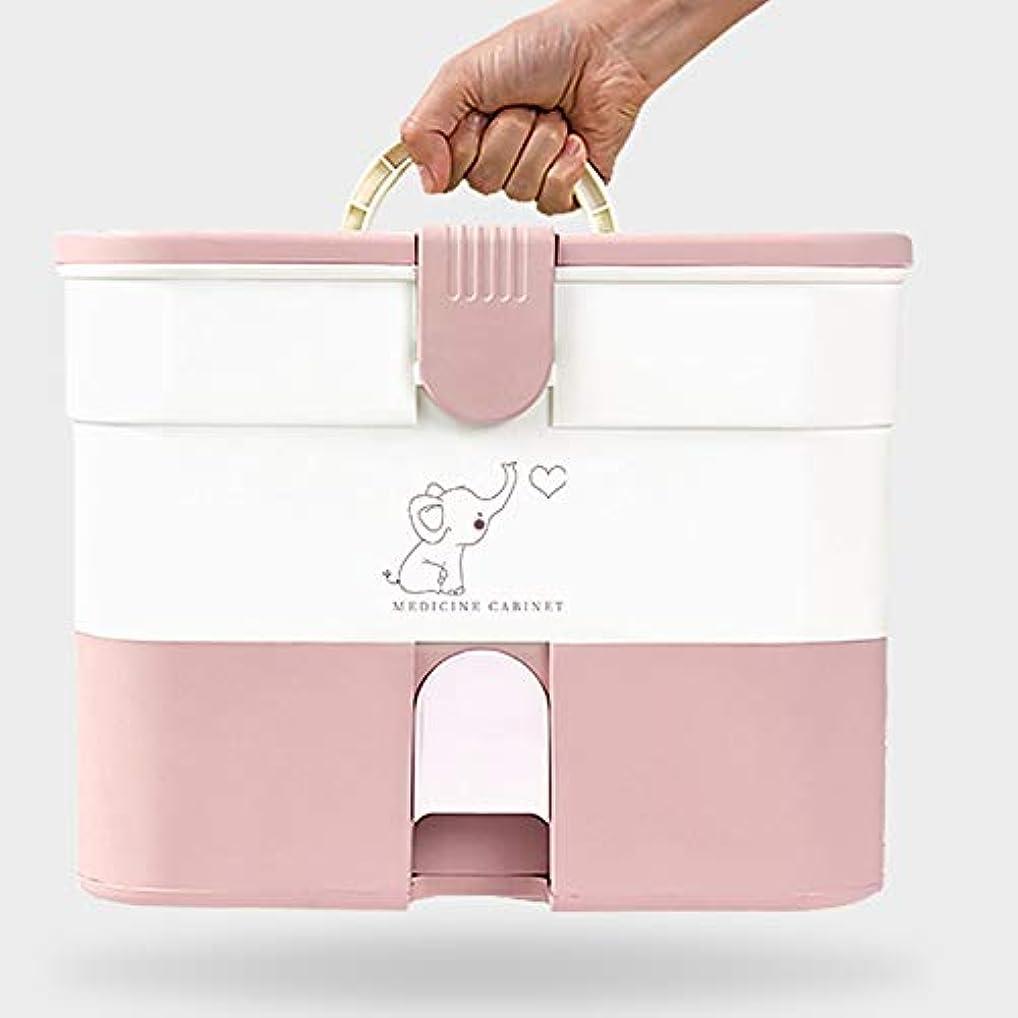 虫ページ協定Xuping shop 家庭用応急処置キットロック可能な医療キャビネット、家庭用プラスチック医療収納ボックスオーガナイザー、旅行職場 (色 : ピンク)