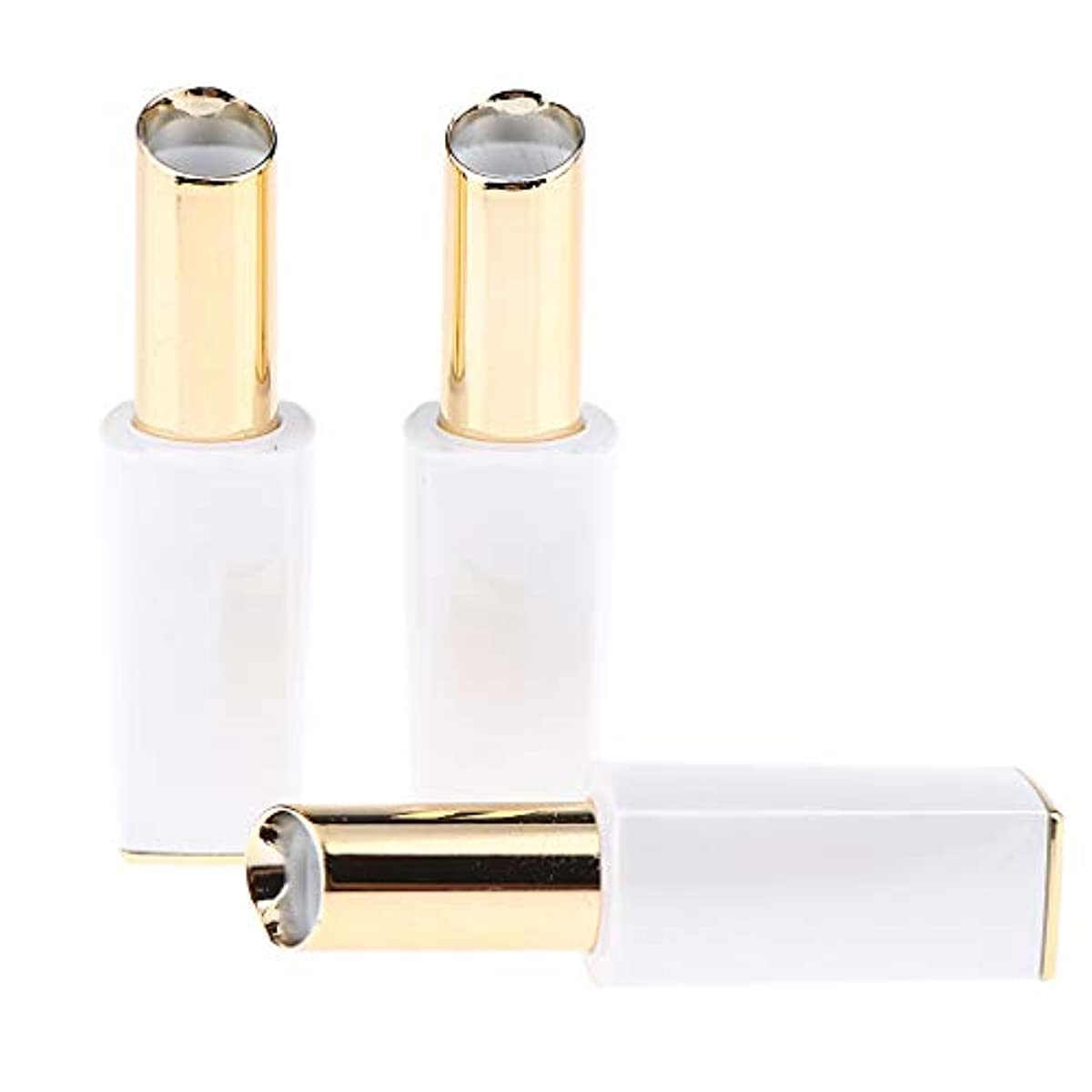 中にバッジ禁止リップスティック チューブ 口紅チューブ プラスチック メイクアップ 道具 3本入り 全3色 - 白