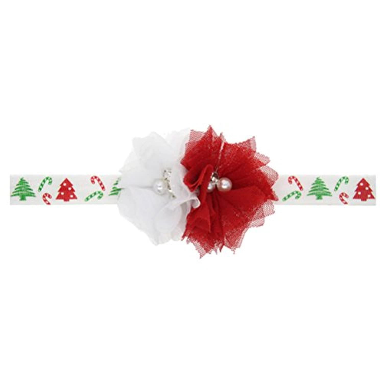 Zhhlaixing ベビー小物 Kids Baby Girls Soft Elastic Flowers Headband Hairband Hair Accessories for Christmas 5133