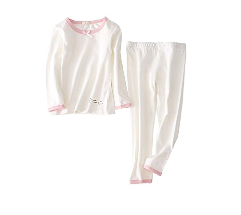 (マソンナーニ)Masonanic キッズパジャマ 綿素材 女の子 ルームウェア  ピンク 長袖 上下 2点セット 部屋着 ナイトウェア  ガールズ 100-150cm (150cm, ホワイト)