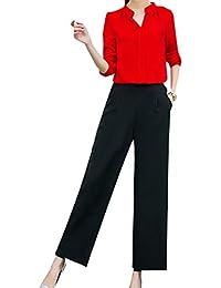 GodeyesW 女性の大サイズVネックトップシャツワイドレグパンツ2ピース