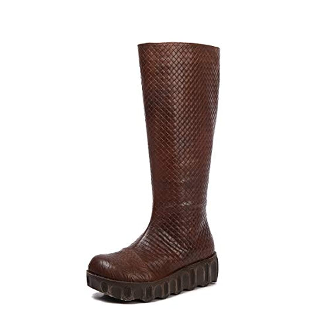 無関心洪水スクリューレディースニーブーツウェッジヒールヴィンテージスタイルのブーツと秋冬シューズのアッパーシューズ