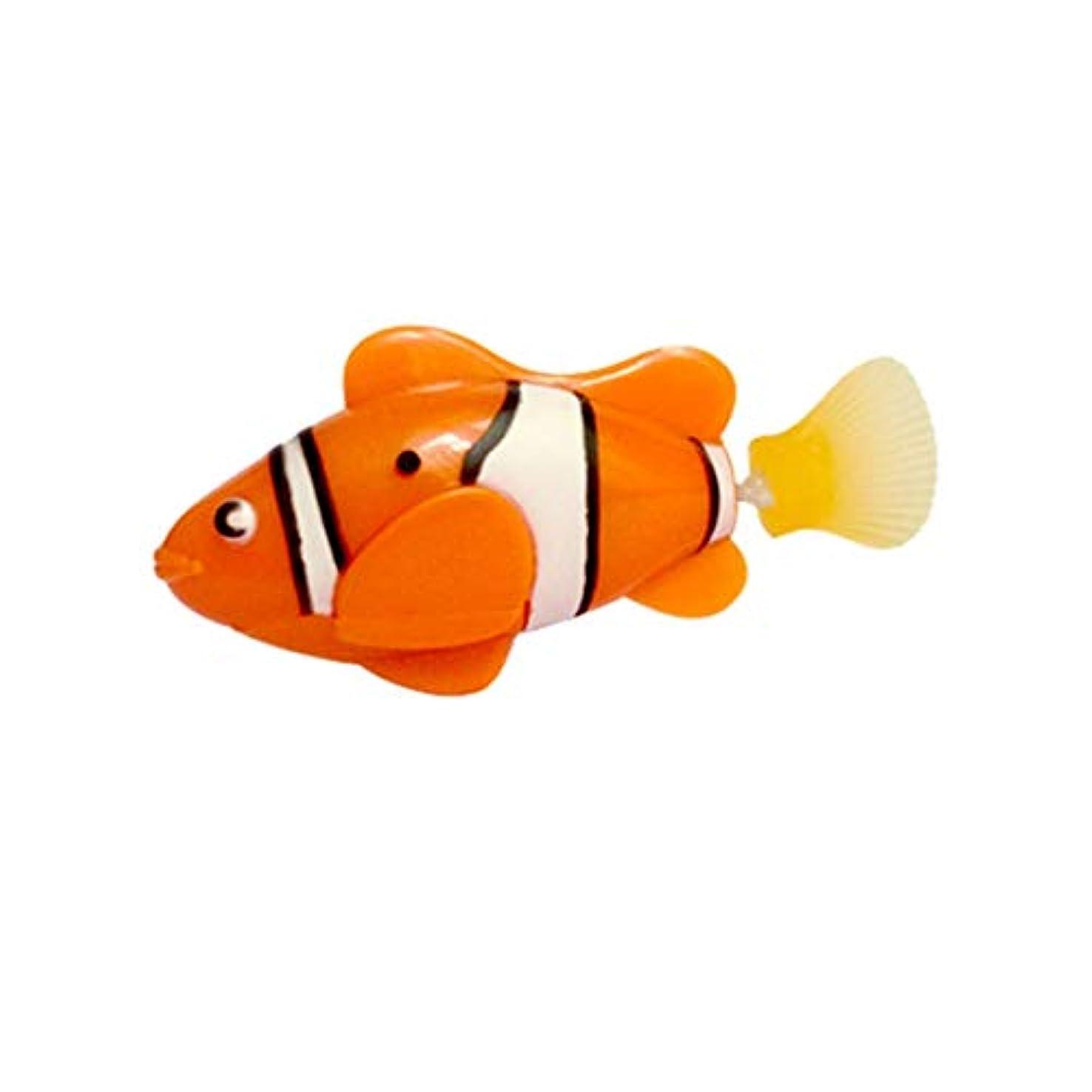 オリエンテーション説明汚染するミニ風呂玩具バイオニックフィッシュ電動スイミングマジカルルバオフィッシュ水中世界深海電子センシングフィッシュ - オレンジ
