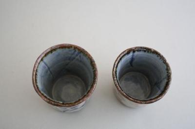 湯呑み 夫婦茶碗 可愛い 茶碗 染唐草 組湯呑 大小2個セット 日本製 ペア湯呑み 夫婦湯呑